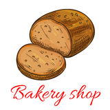 Bakery shop baked wheat and rye bread loaf icon Royalty Free Stock Image