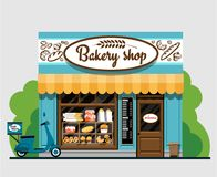 Bakery shop. In flat style. The facade of a . The facade of a  in flat style. Vector illustration Eps10 file