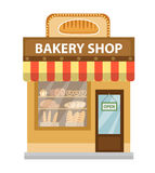 Bakery shop. Baking store building icon. Bread flat style. Showcases stores on the street. Vector illustration Stock Images