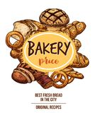 Bakery shop banner with bread and pastry product. Sketch frame. Wheat and rye bread, croissant and baguette, cupcake, sweet roll and plaited bun, cake and bagel stock illustration
