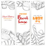 Bakery shop bread house vector sketch banners set. Bread sketch banners. Bakery vector bread sorts wheat bagel, white wheat toast bread, rye loaf brick or loaf vector illustration