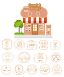 Bakery shop building facade with signboard and bakery logotypes Stock Photography