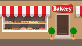 Bakery shop building facade with signboard. Different cakes and pies on shelves behind the window glass. Bakery facade illu stock illustration