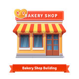 Bakery shop building facade with signboard. Flat style illustration or icon. EPS 10 vector Royalty Free Stock Photo