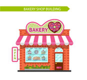 Bakery shop building. Vector flat style illustration of bakery shop building. Signboard with donut in heart shape.  on white background Royalty Free Stock Photos
