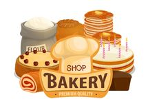 Bakery shop cakes, pastry products stock illustration