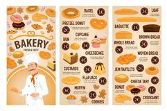 Bakery shop cakes, patisserie pastry desserts menu. Bakery shop, patisserie pastry and baker desserts menu price. Vector bagel, pretzel donut or cupcake and bun royalty free illustration