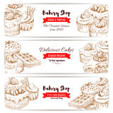 Bakery shop dessert cakes sketch banners set Stock Image