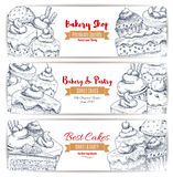 Bakery shop desserts sketch banners set. Bakery, pastry desserts sketch of sweets, cakes and cupcakes with fruits and berries, chocolate muffins, creamy pies and Stock Photo