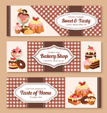 Bakery shop desserts vector banners set Royalty Free Stock Photos