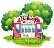 Bakery shop with dining tables. Illustration vector illustration