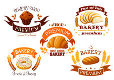 Bakery shop emblem with bread and sweet cakes. Bakery, pastry and patisserie shop emblems set. Elements of fresh baked wheat bread, croissant, chocolate muffin royalty free illustration