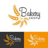Bakery shop emblem, labels, logo and design elements. Fresh bread and wheat. Vector illustration. Royalty Free Stock Photos