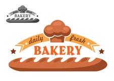Bakery shop emblem or logo in two color variants. Bakery emblem or logo in retro style with appetizing crispy french baguette, ribbon banner, stars, chef hat Stock Image