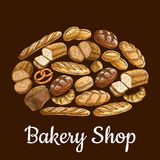 Bakery shop emblem in shape of bread loaf. With vector sketch elements of bread and bakery products wheat and rye bread bricks and bagels, pretzel, fresh baked Stock Photos