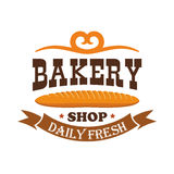 Bakery shop. Daily fresh baked wheat baguette. Bakery shop. Daily fresh baked wheat bread bagel. Baking products icon of baguette with ribbon and text and Royalty Free Stock Photography