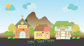Bakery shop and grocery shop on hill background Stock Photo