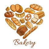 Bakery shop heart symbol of sketch bread Royalty Free Stock Photos