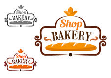 Bakery shop icon with cartouche and loaf Stock Images