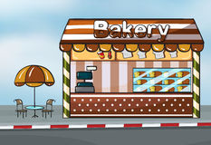 A bakery shop. Illustration of a bakery shop near a street stock illustration