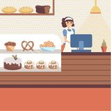 Bakery shop interior with glass showcase full of pastries and bread. Bakery shop interior with glass showcase full of pastries and bread. Girl baker character Royalty Free Stock Image