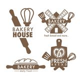 Bakery shop isolated icons kitchen tools and bread. Kitchen tools and fresh bread loaf isolated icons bakery shop vector cutting board and whisk spatula and royalty free illustration