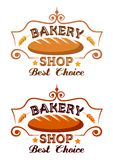 Bakery shop label. With buster baton, cereal ears and text vector illustration