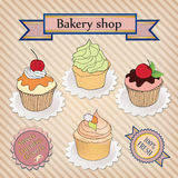 Bakery shop label. Cupcake poster design with sweets Stock Images