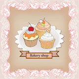 Bakery shop label. Vintage cupcake poster design. Sweets in vict Stock Images