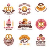 Bakery shop logo. Donuts cookies fresh food cupcakes and bread pictures for vector badges design of bakery market royalty free illustration