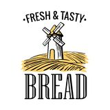 Bakery shop logo. Mill on wheat field in black, white, yellow color. Stock Photography