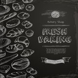 Bakery shop menu. Drawn on the chalkboard. Sketch vector illustration - bread, muffin, bun, loaf Stock Photography
