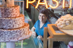 Bakery shop owner. In New York City royalty free stock images