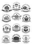 Bakery shop pastry and desserts vector icons Royalty Free Stock Photos