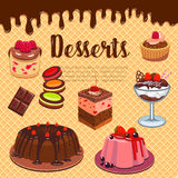 Bakery shop pastry desserts vector wafer poster. Desserts and cakes on wafer poster for bakery shop or patisserie menu design. Vector pastry sweets of chocolate Royalty Free Stock Image