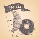 Bakery shop, pastry vector logo, sign, icon Stock Images