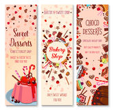 Bakery shop pies and pastry cakes vector banners Royalty Free Stock Image