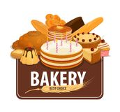 Bakery shop pastry and confectionery, vector stock illustration