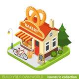 Bakery shop pretzels shape building cafe restauran Royalty Free Stock Photos