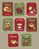 Bakery shop price cards vector retro design set Stock Photo