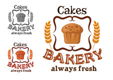 Bakery shop sign with cupcake and wheat Royalty Free Stock Image