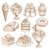Bakery shop sketch icons of vector pastry desserts royalty free illustration