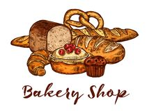 Bakery shop sketch of wheat bread and pastry food vector illustration
