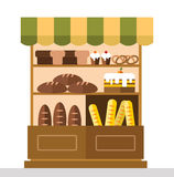 Bakery shop stall with bakery products Stock Photography