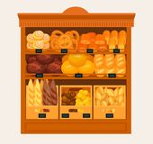 Showcase, stand or stall with bread and pastry. Bakery shop stand or pastry store stall. Showcase with donut or doughnut, baguette or baton, butterbrot and brick Stock Images