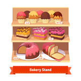 Bakery shop stand with sweet desserts. Cupcakes, cakes, bundt cake and bread with frosting. Flat style illustration. EPS 10 vector. Flat style illustration Stock Photos