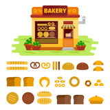 Bakery shop on the street with bread icon set , pastry vector flat illustration. Bun, loaf, bread, croissant, baguette Stock Image