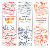 Bakery shop sweets and desserts sketch banners set Royalty Free Stock Photos