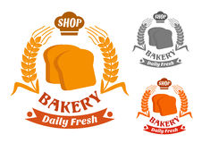 Bakery shop symbol with golden crispy toasts Stock Images