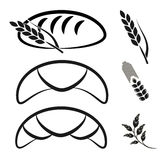 Bakery shop symbols. Black simple line icon of croissant, bread and spike grain. Stock Photos